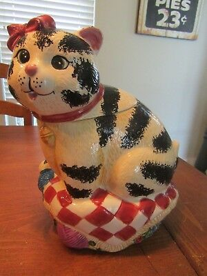 Striped Cat Cookie Jar by International Art