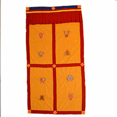 Tibetan Buddhist  8 Good Luck Symbol Cotton Door Curtain Wall Hanging Nepal HD44