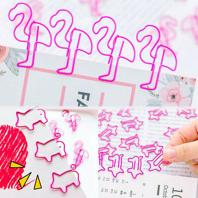 10pcs Cute Pig Flamingo Bookmark Paper Clip Hollow Metal Binder Office Supplies