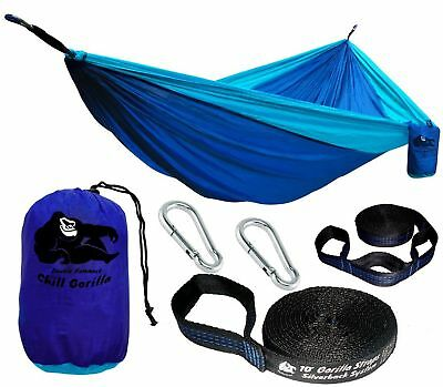 Chill Gorilla DOUBLE HAMMOCK WITH TREE STRAPS. Perfect for Backpacking Campin...