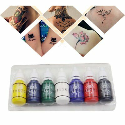 7 Colors Bottles Ink Pigment Set Kits Body Arts Tattoos Permanent Makeup YP