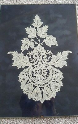 Framed Genuine Hand Made Honiton Lace