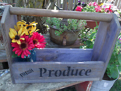Wooden Tool Tote- Handmade- Blue-Farmhouse Style