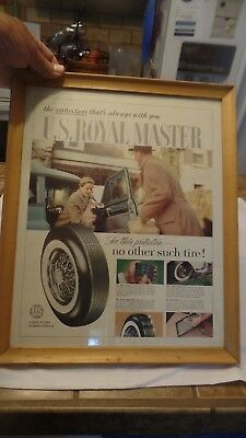"Framed 1940s US RUBBER COMPANY, US Royal Master Tire Vintage Ad 16.5"" x 13.5"""