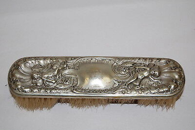 Ornate Antique Clothes Brush w/ Sterling Silver Cap GC