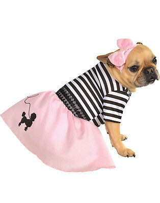 1950'S Retro Pink Poodle Skirt Girl Pet Dog Cat Halloween Costume