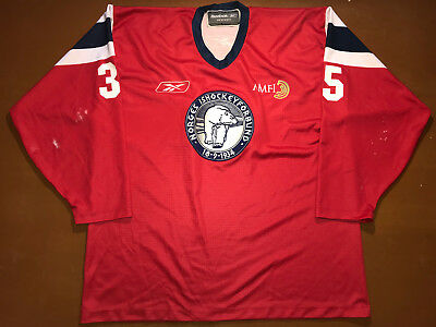 IIHF Norway Ice Hockey Game Worn Jersey Shirt Reebok Size XXL #35 Norge Ishockey