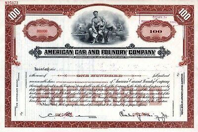 American Car and Foundry Company ca 1930's SPECIMEN Stock Certificate
