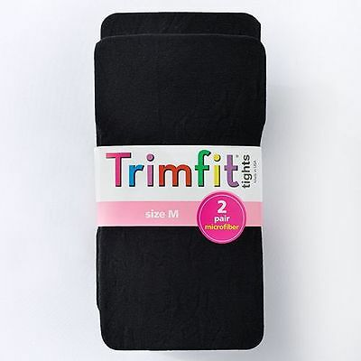 Trimfit Girl's Size Medium 7 - 10  Black 2-Pack Microfiber Footed Tights NEW