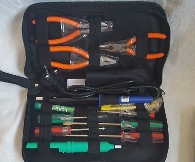 Maplin 14 Piece Electronics Tool Kit inc volt tester, pliers, soldering iron etc
