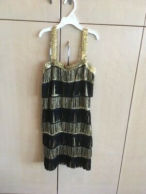 Girls Gold And Black Flapper Costume Size Extra Large