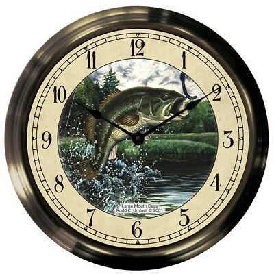 "Trintec 14"" Largemouth Bass Antique Brass Fishing Clock AB14-03-LMB"
