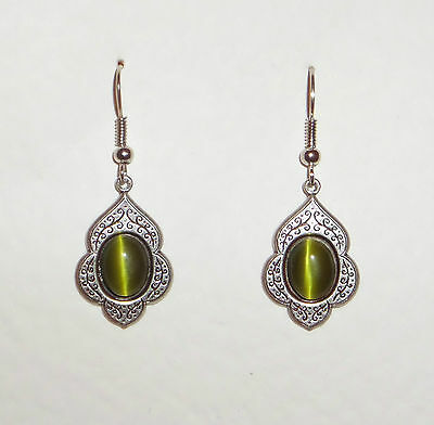 Persian Art Style Olive Green Glass Dark Silver Plated Drop Earrings Hook