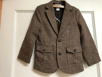 Boys Janie And Jack Brown Houndstooth Wool Jacket Blazer Size 5