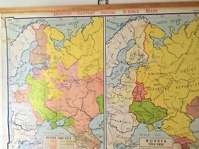 Vintage School Wall Map of Russian Boundaries 1462-1939 by Denoyer-Geppert 1967