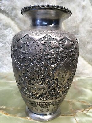 VTG ANTIQUE HAND MADE PERSIAN SOLID 84 SILVER VASE 401.4 grams