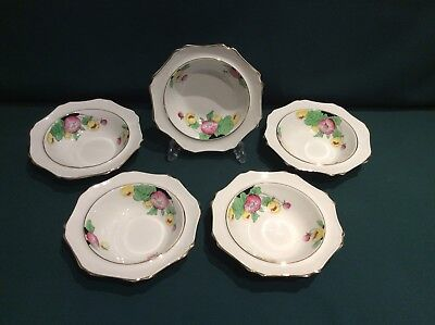 """5 Stunning Art Deco Roslyn Hand Painted Fruit / Dessert Bowls """"King Cup"""" Flowers"""