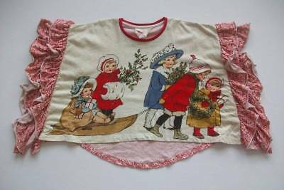 jl Paper Wings Jersey Knit Vintage Sleigh Ride Holiday Frill Poncho Top 5 EUC