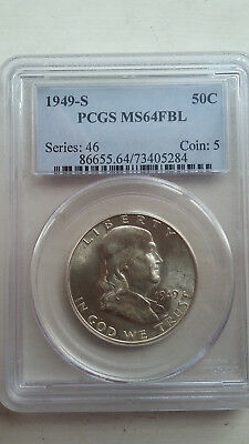 1949 S PCGS MS64 FBL Franklin Half Dollar FREE S&H! GORGEOUS COIN!!
