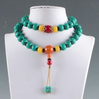 100% Natural Turquoise & Beeswax Handwork Decoration Necklaces R16