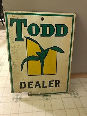 Vntage Farm  Dealer Sign Todd Seed Dealer Sign Old Farm Sign