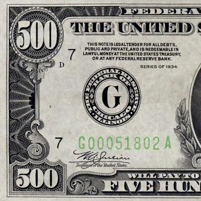 Early Low Serial High Grade 1934 Chicago $500 FIVE HUNDRED DOLLAR BILL 1000 3675