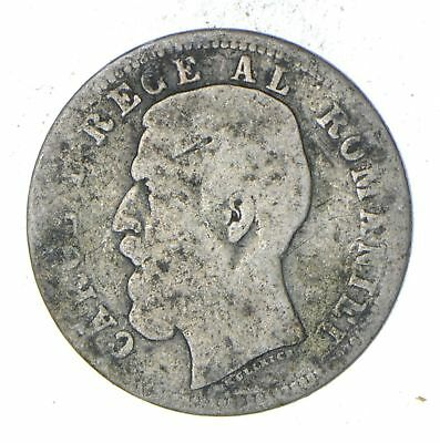 Roughly Size of Dime - 1885 Romania 50 Bani - World Silver Coin *238
