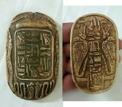 RARE ANCIENT EGYPTIAN ANTIQUE SCARAB Carved Stone 1469-1359 BC