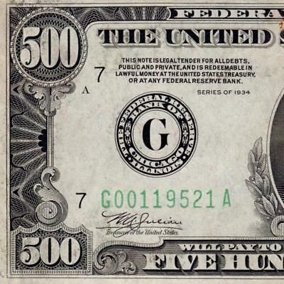 1 DAY AUCTION HIGH GRADE ! 1934 Chicago $500 FIVE HUNDRED DOLLAR BILL 1000 3675C
