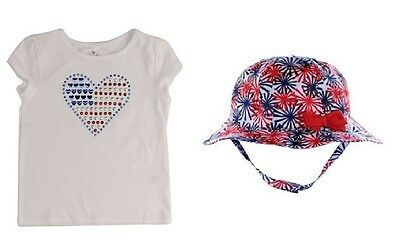 Patriotic Shiny Heart Flag Shirt & Fireworks Bucket Hat Set ~ New With Tags