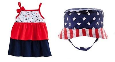 Tiered Ruffles Sleeveless Tank Top with Stars and Stripes Bucket Hat Set ~ NWT