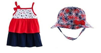 Tiered Ruffles Sleeveless Tank Top & Fireworks Bucket Hat Set ~ New With Tags