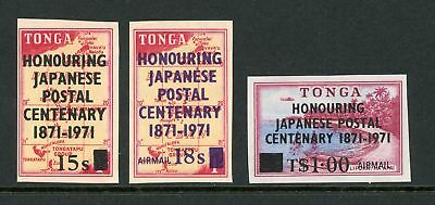 Tonga Scott #273//C91 Imperf MNH OVPT Japanese Postal Centenary on MAP CV$4+