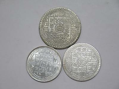 Nepal 2 Mohars Mohar 50 Paisa Silver Type Old Asian World Coin Collection Lot