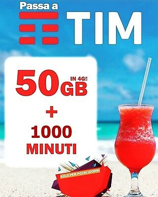 INCREDIBILE TIM 50 GIGA in 4G e Minuti illimitati a soli 10 EURO_Solo x VODAFONE