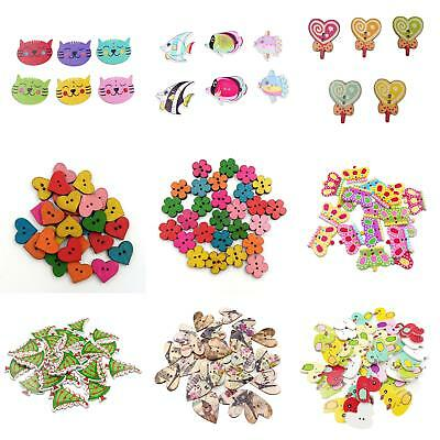 100 Mix Wooden Flower 2 Holes Buttons For  Diy Sewing Cardmaking Scrapbook Firm