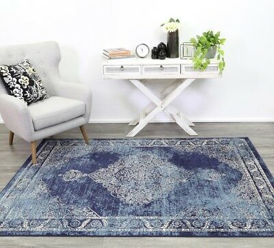 Aryan Distressed Navy Rug Traditional Persian Design Floor Carpet FREE DELIVERY