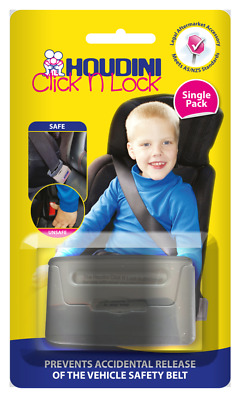 New Houdini Click N Lock Child Car Seat Belt Safety Buckle Guard Click and Lock