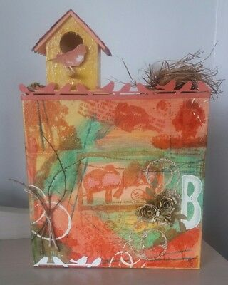 Unique handmade & embellished 3D mixed media art canvas - 'Birdhouse'