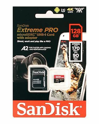 128GB MicroSDXC A2 Class 10 UHS-I U3 by SanDisk for 4K UHD Video 170MB/s 90MB/s
