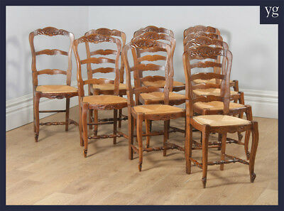 Antique Set Ten 10 Louis Style Oak Ladder Back Rush Seat Kitchen Dining Chairs