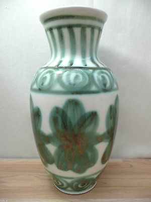 "Excellent CINQUE PORTS POTTERY 10"" Large Vase Green White 60s Studio Floral Rye"