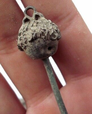 Ancient Celtic Silver Head Hair - Dress Pin - 200/100 Bc - Rare