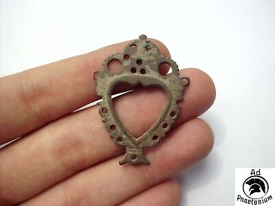 Ancient Celtic Bronze Hearth Shaped Pendant - 100 Bc - Rare - Wearable!