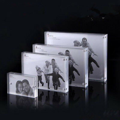 Small Freestanding Clear Acrylic Magnetic Picture Photo Frame Business Card Hold