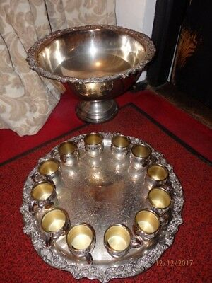 Large Stunning Silver Plate Punch Bowl With Large Matching Tray And 12 Cups