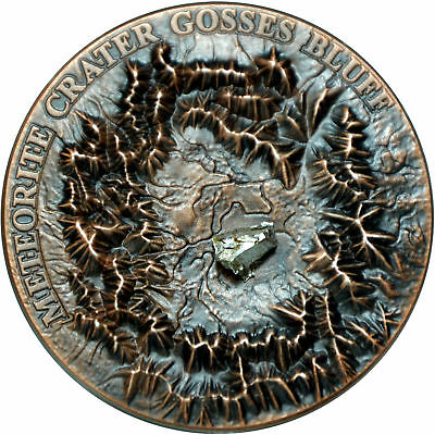 1 $ Niue Island 2017 1 ounce Gosses Bluff Crater with Henbury Meteorite Ag 0.999