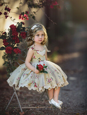 Cute Toddler Kids Baby Girls Flowers Party Pageant Lace Tutu Tulle Dress Summer