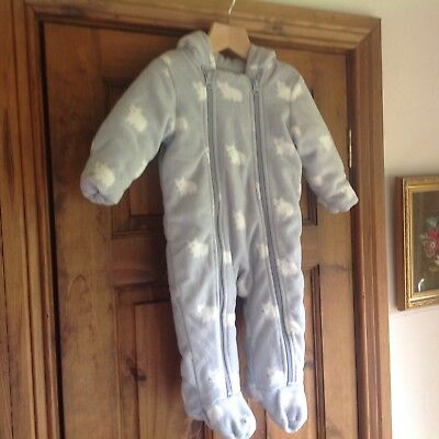 Baby Boys Marks And Spencer Fleece Hooded Body Suit 6-9 Months New