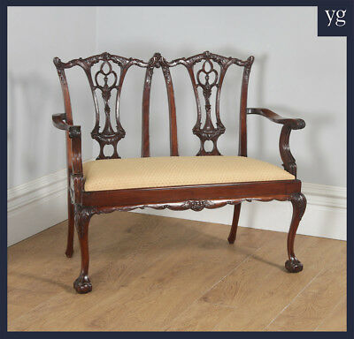 Chippendale Style Carved Mahogany Couch Sofa Settee Settle Chair c.1970
